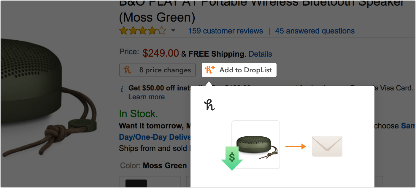 Add a product to your Droplist by clicking the Add to Droplist button on an Amazon product page