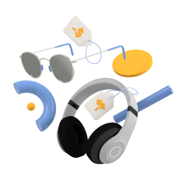 Image of sunglasses and headphones with lowered price tags attached